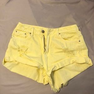 Yellow high waist shorts forever 21